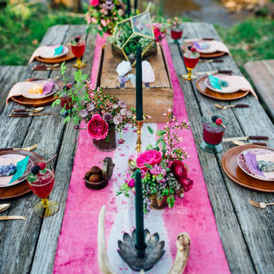 Colourful table decor with bohemian theme
