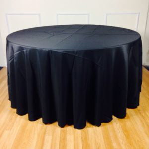 Full Drop black round tablecloth