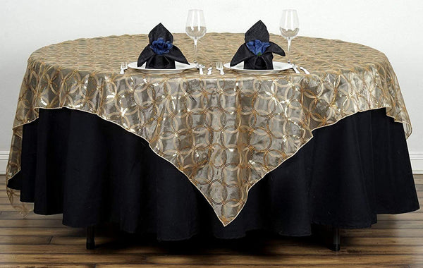 Gold Organza Square Tablecloth Overlay
