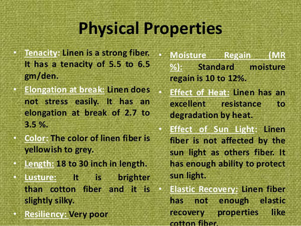 Physical Properties of the Linen Fabric