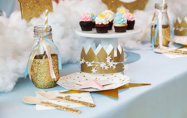 Glitter Star Table Setting from a Pastel Twinkle Twinkle Little Star