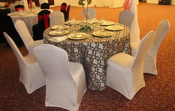 brown and beige table cloth