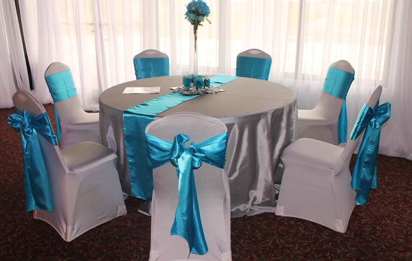satin round silver tableclot