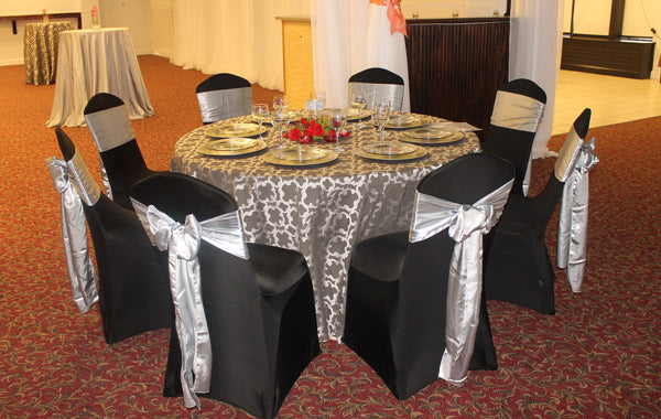black and silver table cloth