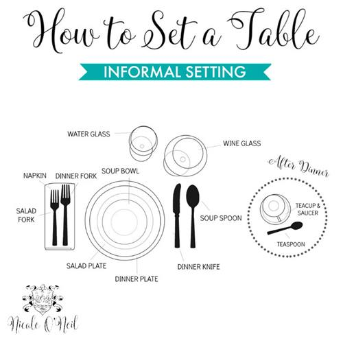 illustration informal table setting