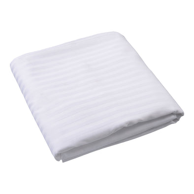 Sateen Satin Stripe White Top Sheet