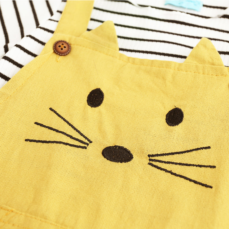 PUSSY CAT PINAFORE DRESS With striped T-shirt