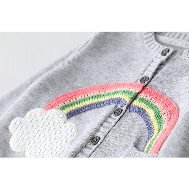 POCKET OF RAINBOWS Embroidered Cardigan