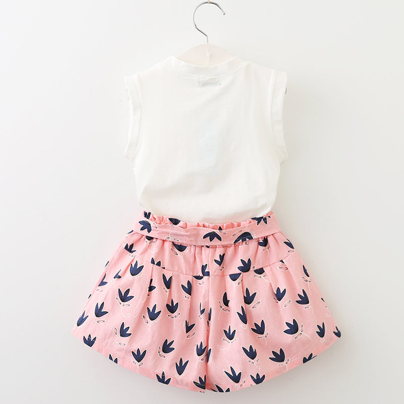 GIRLS PINK BOW SUMMER SET White & pink T-shirt & Culottes set