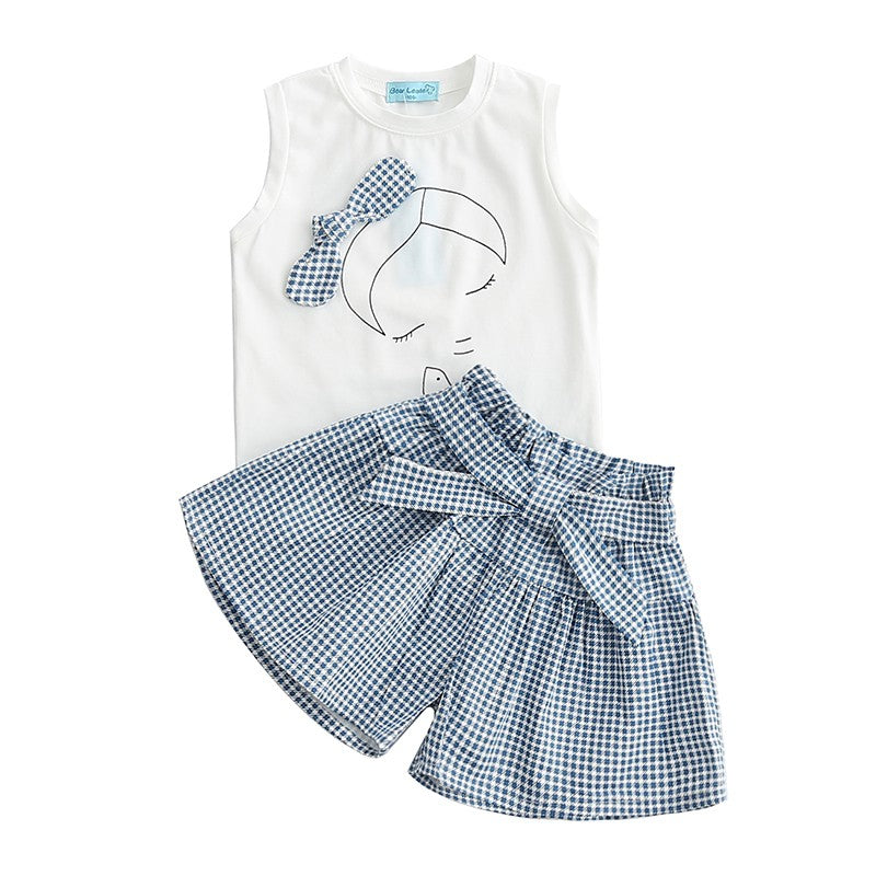 GIRLS BOW SUMMER SET White T-shirt & Culottes set