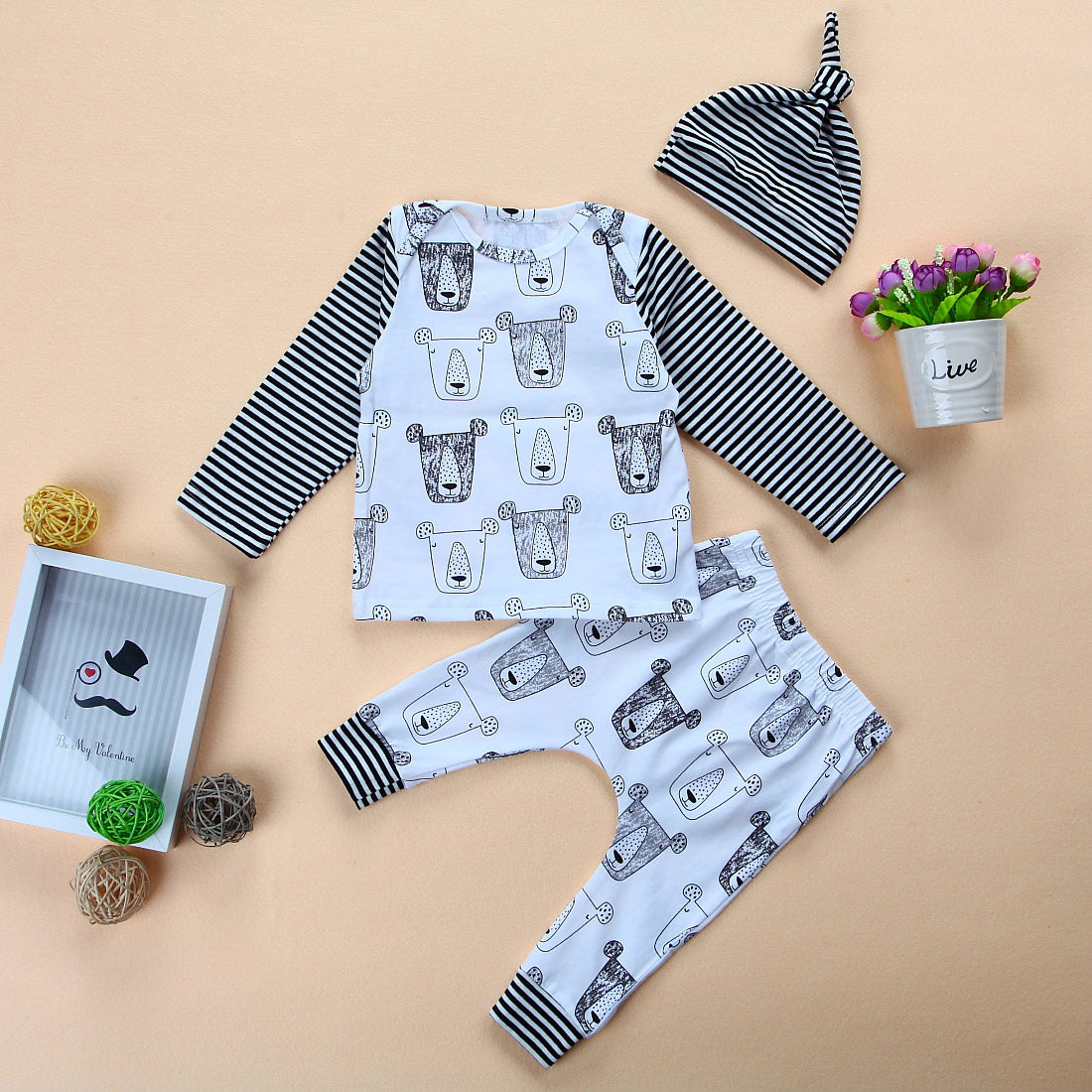 BEAR LOVE Long Sleeved 3-Piece Baby Set