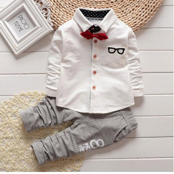 BOW TIE SHIRT SET With cute grey pants