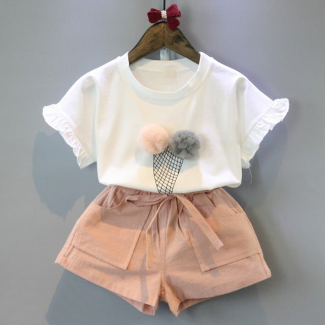 POM POM ICE CREAM T-Shirt & shorts set