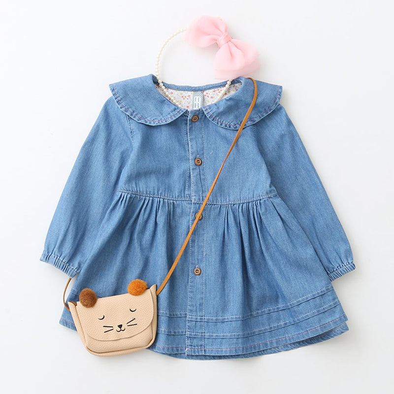 GIRLS DENIM COWBOY FULL SLEEVE DRESS With rabbit ear design