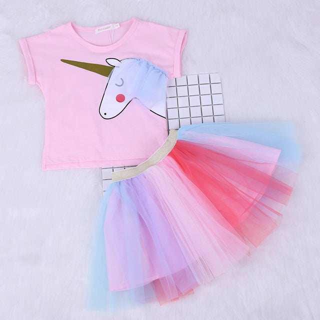 CARTOON UNICORN T-SHIRT AND TUTU SET