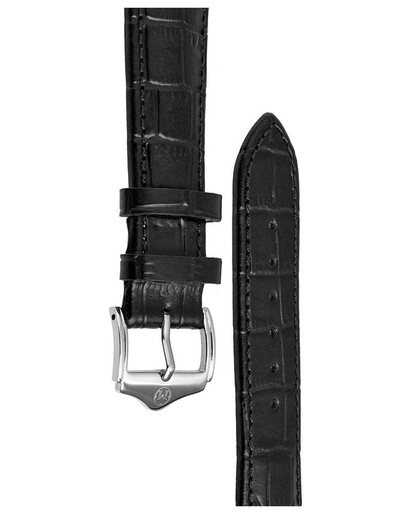 20mm Leather Strap - Black/SS
