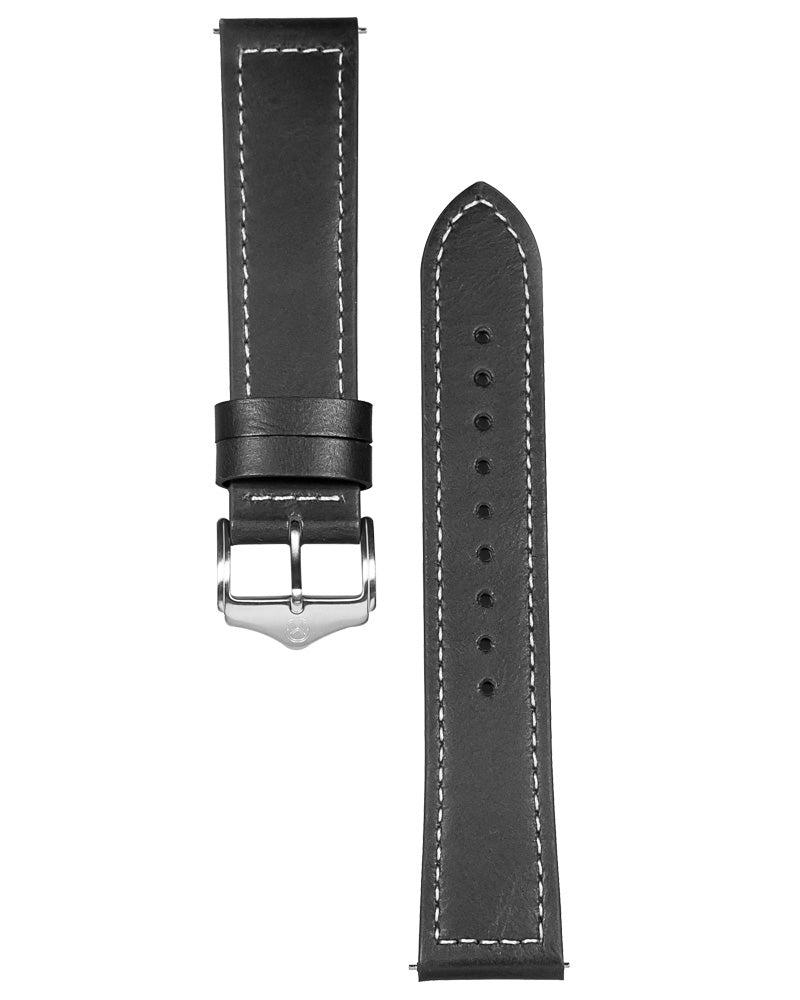 22mm Stitched Leather  - Lonsdale Strap - Black