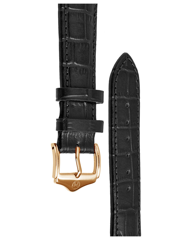 20mm Leather - Croc Grain - Black