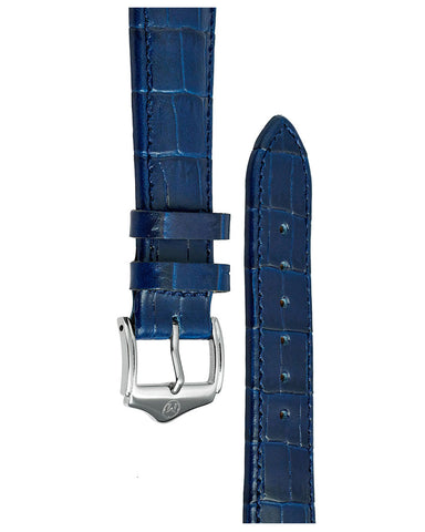 20mm Leather - Croc Grain - Navy Blue