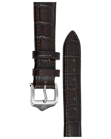 20mm Leather - Croc Grain - Dark Brown