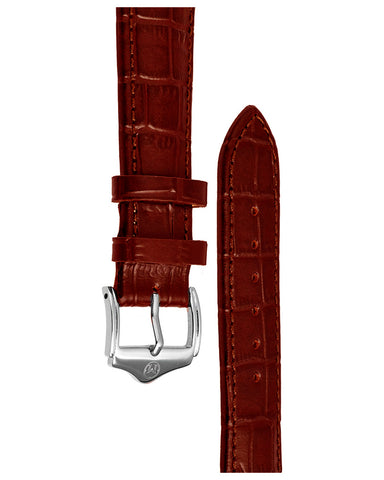 20mm Leather - Croc Grain - Red Brown