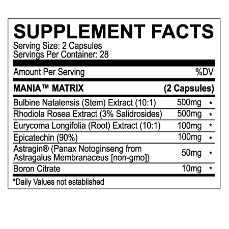 MANIA™ TESTOSTERONE SUPPORT (4 WEEK SUPPLY)