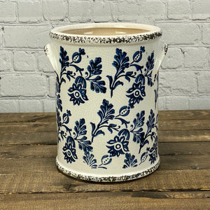 Pottery | Blue Floral | Large Crock