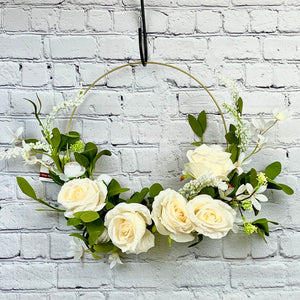 Gold Hoop Wreath | Cream Roses