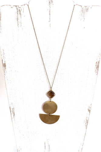 Long Accent Necklace | Brass & Gemstone