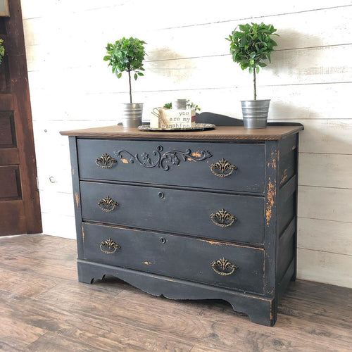 Refinished Antique Dresser | Black Beauty