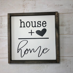 Framed Panel Sign | 12 x 12 | House + Heart