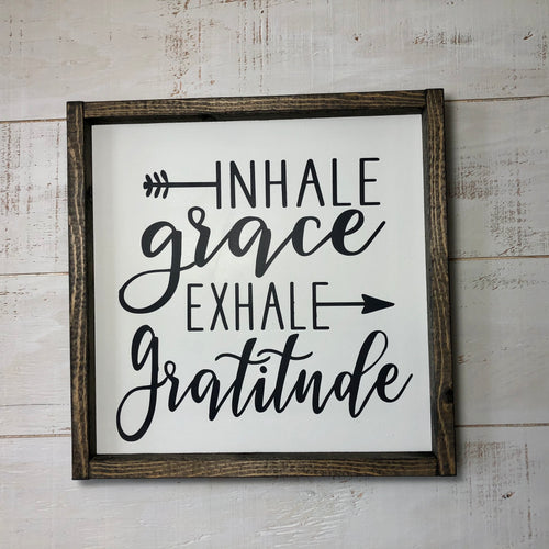 Framed Panel Sign | 12 x 12 | Inhale Exhale