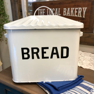 White Enamel Bread Box