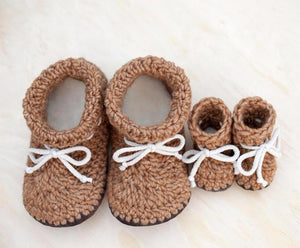 Mommy and Me Slipper Set and Daddy and Me Slipper and Baby Booties Set for Children and Kids boys and girls