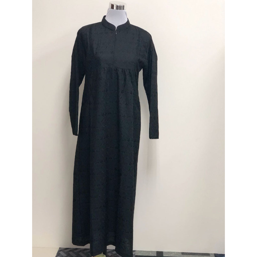 Jubah Sulam Kapas Duo Pocket ( Pure Black)