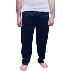 Cotton Tapered Side Zip Pocket Pants- Black