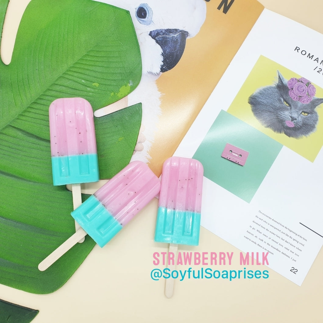 Strawberry Milk Popsicle Soaps