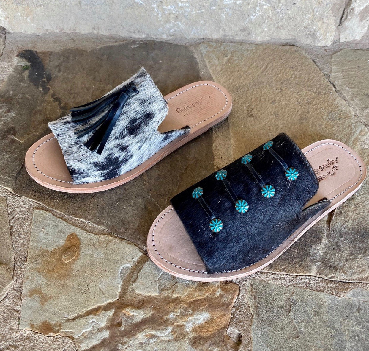 Cowhide Sandals with Black Tassel
