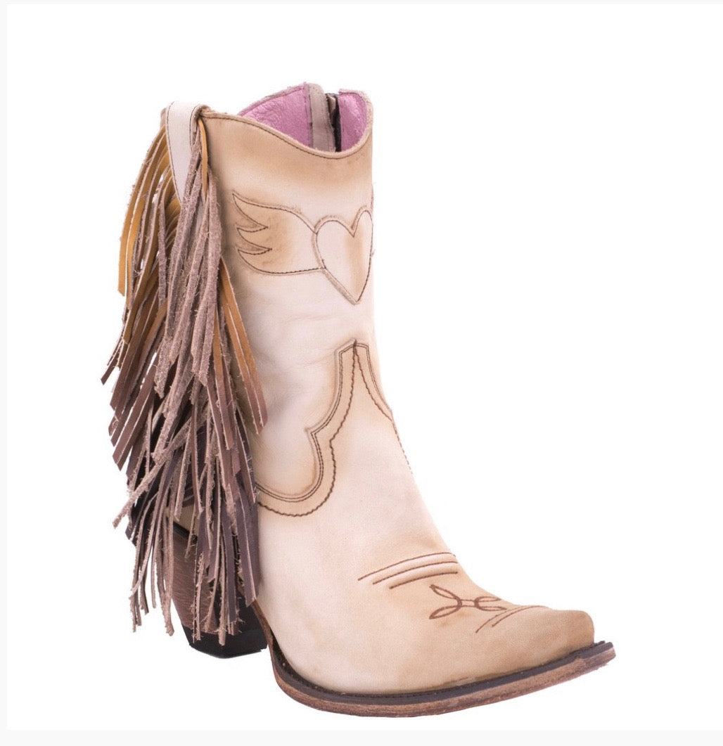 "Junk Gypsy Ladies ""Spirit Animal"" Bone Suede Fringe Ankle Boot"