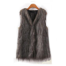 Sleeveless Vest Coat - Faux Fur,Long Hair