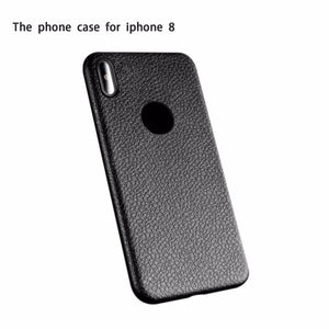 Luxury Vintage Leather Grain Pattern TPU Material Mobile Phone Case With LOGO Hole on The Back for iPhone 8