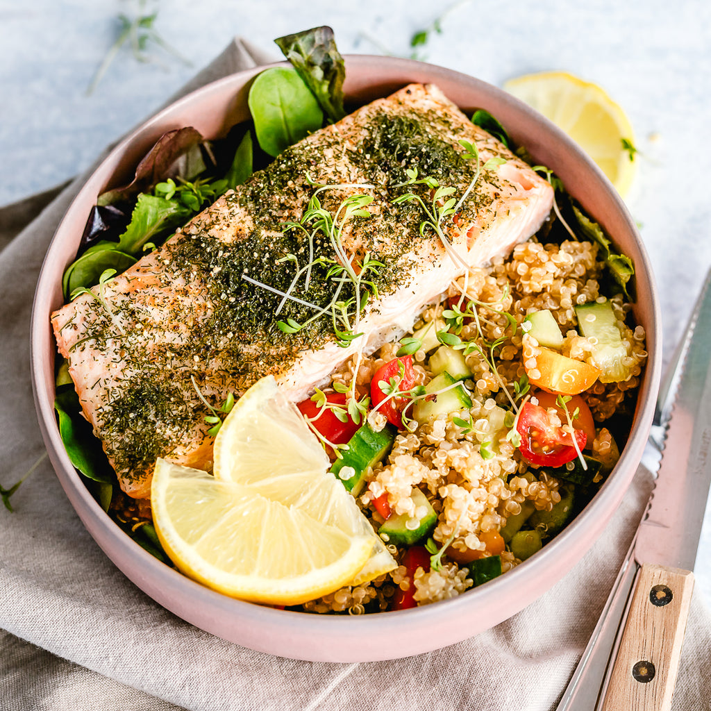 Challenge Approved Phase 1 Lunch: Quinoa Salmon Bowl