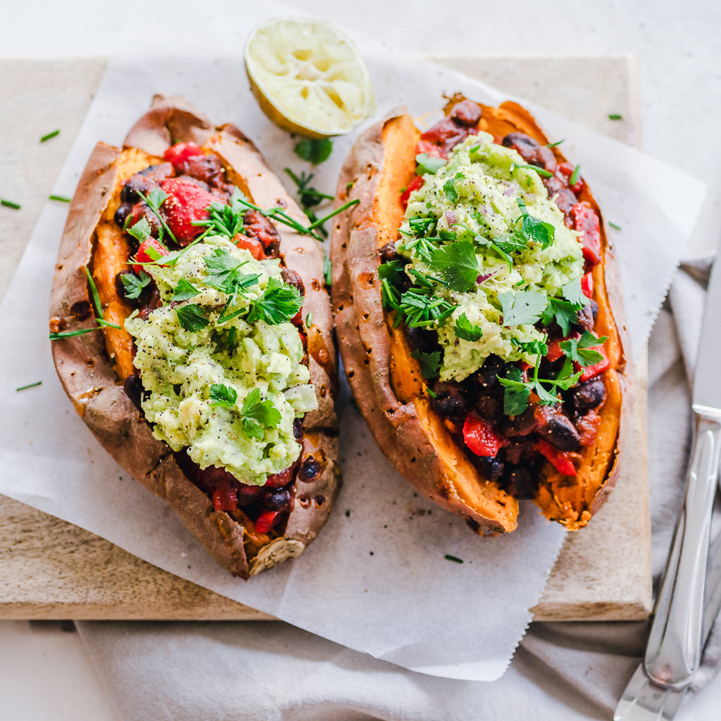 Black Bean Chili And Guacamole Stuffed Sweet Potatoes