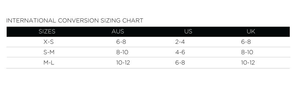 International seamless sizing chart