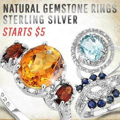 Natural Gemstone Rings Sterling Silver Starts $5
