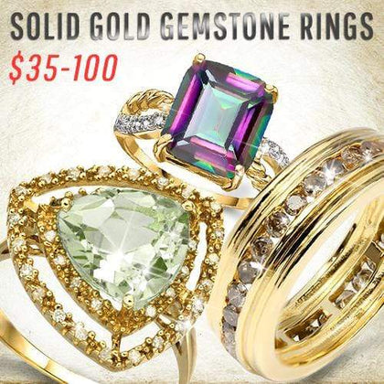 Solid Gold Gemstone Rings