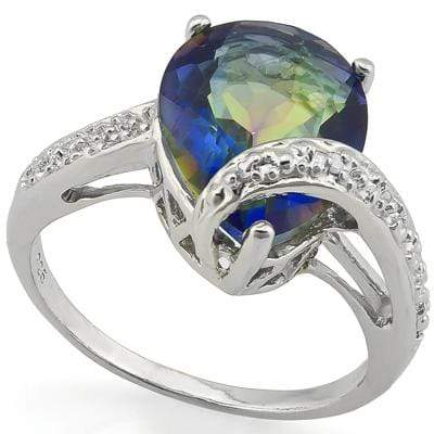 0.01 CT GENUINE DIAMOND & 1PCS OCEAN MYSTIC GEMSTONE 0.925 STERLING SILVER RING - Wholesalekings.com