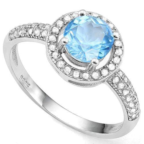 1.00 CT BABY SWISS BLUE TOPAZ & 2/5 CT CREATED WHITE SAPPHIRE 925 STERLING SILVER RING wholesalekings wholesale silver jewelry