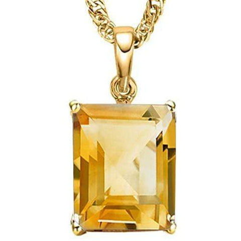 1.00 CT CITRINE 10KT SOLID GOLD PENDANT - Wholesalekings.com