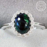 1.00 CT GENUINE ETHIOPIAN BLACK OPAL & CREATED WHITE SAPPHIRE 925 STERLING SILVER RING ADJUSTABLE OPEN RING - Wholesalekings.com